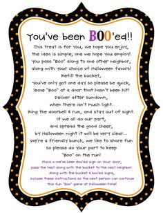 You've been Boo'ed poem I made to go with the BOO gift.
