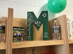 soccer locker room decorations. paper mache block letters. spray