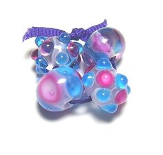 Aqua and Pink Lampwork Set by FireinIceLampwork on Etsy, $8.50