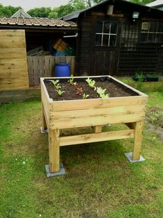 bac sureleve Raised vegetable Planter / Potager surélevé in pallet garden with Planter Pallets / Especially great for those who can't always bend down --- Vegetable Planters, Raised Vegetable Gardens, Wooden Garden Planters, Raised Garden Beds, Pallet Planters, Raised Beds, Planter Ideas, Planter Boxes, Vegetable Gardening