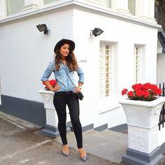 Mimi Ikonn   Denim shirt, black skinny jeans, Stella McCartney bag, hat, heels