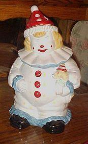 Adorable friendly happy clown  ceramic cookie jar