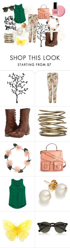 """""""Mother Nature"""" by clothesbeforebros ❤ liked on Polyvore featuring Current/Elliott, Steve Madden, Kelly Wearstler, Cotton Candy, Carven, floral, sunglasses, boots, nail polis and pearls"""