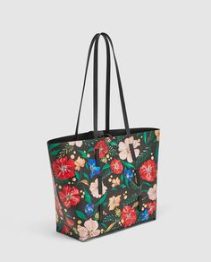 7a5e57ce5066 ZARA - WOMAN - REVERSIBLE FLORAL PRINT TOTE BAG Printed Tote Bags