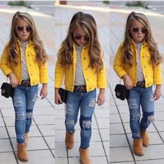 Denim Jacket Stand out in the crowd in this Yellow Denim Jacket. Yellow Denim Jacket Stand out in the crowd in this Yellow Denim Jacket., Yellow Denim Jacket Stand out in the crowd in this Yellow Denim Jacket. Cute Little Girls Outfits, Girls Fall Outfits, Outfits Niños, Little Girl Fashion, Girls Fashion Kids, Little Girl Style, Black Kids Fashion, Stylish Outfits, Toddler Girl Style