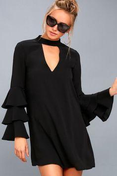 Aesthetic Aspirations Black Flounce Sleeve Shift Dress