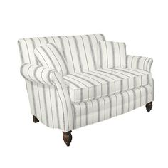 Haralson Settee $1237 with ticking stripe fabric
