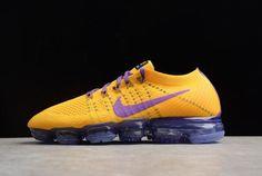 9a47903f46003 Men Nike Air VaporMax Flyknit 2018 Lemon Yellow Purple 104 Shoe Cheap For  Sale