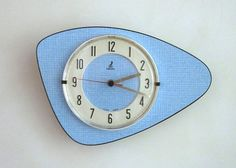 Atomic Age Vintage French Formica JAZ Wall Clock-Light Blue