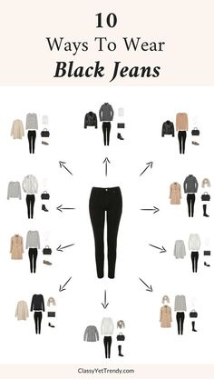 10 Ways To Wear Black Jeans - Black Jeans is one of the most versatile items in your closet. This one pair of jeans can be worn so many ways! Black jeans (like this budget-friendly pair) can be worn in casual outfits with a this side tie tee and these velvet sneakers or can be dressed up with a crisp white button-up shirt layered under a grey sweater. See 10 outfit ideas using these jeans. Black Jeans Outfit Casual, Outfits With Black Jeans, Grey Sweater Outfit, White Shirt Black Jeans, Casual Jean Outfits, Light Jeans Outfit, Black Jeans Women, Black Sneakers Outfit, Dress Up Jeans