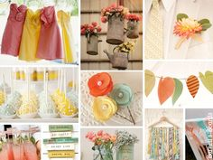 {sea foam, coral, and yellow} pastel wedding inspiration http://burnettsboards.com/2012/09/sea-foam-coral-yellow/