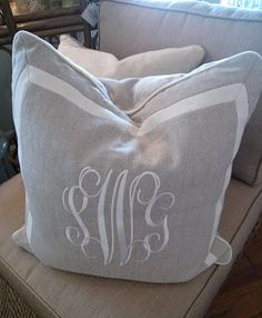 Ideas for my Brother DreamWeaver : monogram pillows for my living room. I love this font.