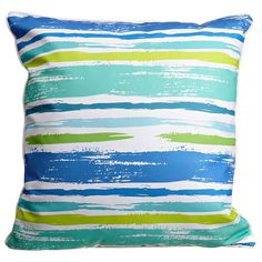 Coastal Lines Pillow Size: 20x20 Color: Blue, aqua, lime and white. Material: 100% Polyester, pre-shrunk. Details: Double-sided print with piping and invisible zipper. Insert: Polyfill. Care: Spot cle