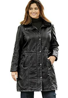 "Product review for Jessica London Women's Plus Size Leather Anorak Jacket.  - Make a statement with this on-trend top layer with faux fur collar. Inside drawstring at natural waist. Quilted lining. 38"" length Smooth Nappa leather Dry clean; imported Style & Fit Tips: Stay warm in style with this luxe leather anorak jacket. The faux fur collar offers a fashionable..."