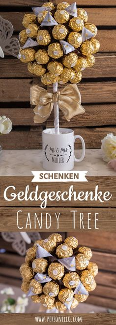"""The perfect money gift for weddings and other occasions. The Ferrero Rocher money tree in a personalized cup with your own slogan, image and motive. Gifts of money do not have to be boring. Find many more creative ideas around the topic of """"Mug packaging"""" Ferrero Rocher, Tree Wedding, Diy Wedding, Wedding Gifts, Don D'argent, Perfect Money, Money Trees, Diy Gifts, Diy And Crafts"""