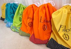 Custom Kimono Robe/Bath Robe/ Bridesmaids Robe wrapped with each of the bridesmaid's name drawstring bag, Select by ORTUPES, Set from $79.00 - $89.00 comes with candy like packaging. www.ortupes.etsy.com