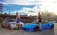 Wide screen download of Summer Daniels & Erica Nagashima with the Liberty Walk BMW M4 by Impressive Wrap and the SSA USA Rocket Bunny Acura NSX by Robert Chew
