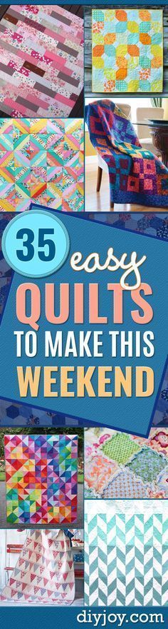 Best Quilts to Make This Weekend - Free Quilt Patterns and Quilting Tutorials - Quilting for Beginners and Sewing Ideas - DIY Baby Quilts, Printables, New and Easy Modern Quilts, Jelly Roll, Quilt Squares, Fat Quarters and Scrap Ideas http://diyjoy.com/fr