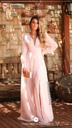 Top Pink Long Dress With Sleeves Gowns Long Bridesmaid Dresses, Prom Dresses, Formal Dresses, Evening Outfits, Evening Dresses, Quince Dresses, Gowns With Sleeves, Different Dresses, Quinceanera Dresses
