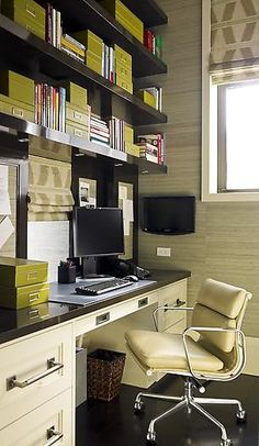 storage boxes provide color and organization to a small office