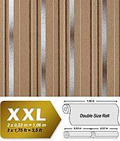 EDEM 602-91 флизелиновые обои в полоску светло-коричневые серебристо-серые | 10,65 кв м