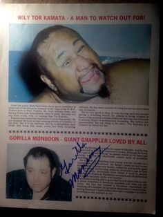 Gorilla Monsoon SIGNED MAGAZINE PAGE WRESTLING RARE WOW please retweet