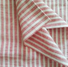 """CustomLinensHandmade Red Stripe One twin fitted sheet 2 pillow cases at 20x26 envelope style Two pillow cases 20x26 plus 3"""" ruffle on 4 sides  - Reserved"""