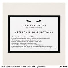 Glam Eyelashes Classic Lash Salon Aftercare Card - Personalize for your own business