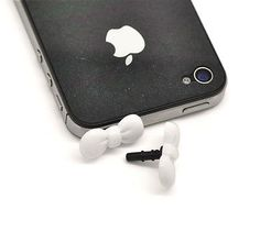 2 Hello Kitty Bow Cell Phone Decoration Anti Dust Plug Stopper 3.5mm iphone