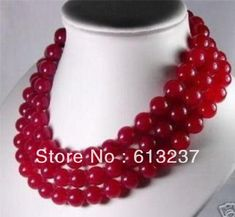 """Fashion 10mm red natural stone dyed chalcedony long chain strand round beads necklace for women jewelry making 50"""" YE2068"""