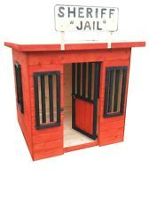 childrens wooden playhouse wendy house play sherriff jail