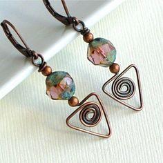 Copper Wirework Earrings - Spiral Triangle, Czech Glass, Handmade
