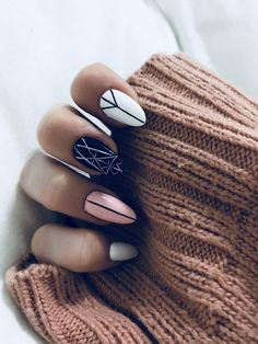 White nails, white almond nails, pink black nails, pink white, geometric na Pink Black Nails, White Almond Nails, White Nails, Pink White, Black White, Nagel Stamping, Minimalist Nails, Nail Swag, Nagel Gel