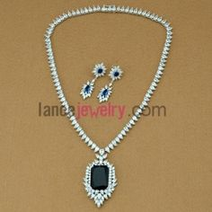 Fashion blue color zirconia beads drop earrings and necklace set 42-48 cm, $50