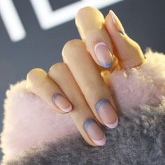 10 Negative Space Nail Art Designs: #5. Pink and Gray