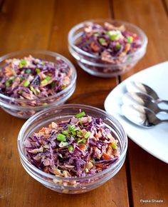 Purple Cabbage Slaw with Hung Curd or Greek Style Yougurt Dressing _ A versatile salad that makes a great side dish with Indian breads or it can be used as a stuffing in wraps and sandwiches.