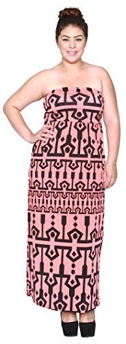 Libian Jr Plus Size Tube Top Tribal Maxi Dress 2X CORAL *** You can find more details by visiting the image link.