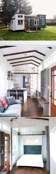From Handcrafted Movement is the Pacific Getaway, a 28' tiny house featuring a main level bedroom that converts into the dining room.
