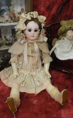 "ANTIQUE JUMEAU E.J. BISQUE BEBE FRENCH DOLL 19"" EARLY ORIGINAL BODY"