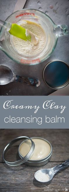 This rich, gentle creamy clay cleansing balm is a hybrid between a cleansing balm and a clay bar. It pairs the cleansing powers of emulsifying wax and clay with nourishing oils to leave your skin gently cleansed and lightly hydrated. Organic Skin Care, Natural Skin Care, Natural Beauty, Diy Cosmetic, Homemade Acne Treatment, Homemade Beauty, Diy Beauty, Beauty Stuff, Beauty Tips