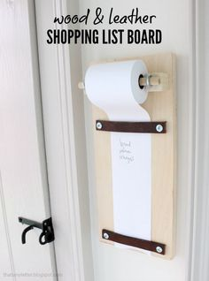 Wood & Leather Shopping List Board