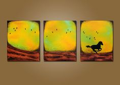 Running Away   48 x 20 Textured ORIGINAL by shannacreations, $245.00
