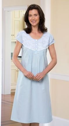 Womens cap sleeve percale nightgown is made with 100 percent cotton. This full-length sleep gown features white lace and pintuck detailing.