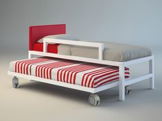 pull-out bed, bed with castors, double bed Solid wood Bunky 04