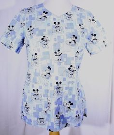 Disney Size XS See Measurements Scrub Top Mickey Mouse Tie Back Shades of Blue #Disney