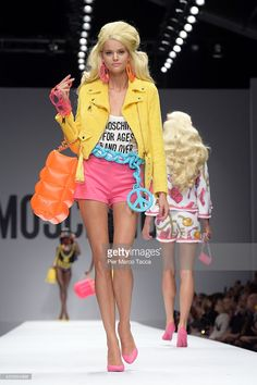 A model walks the runway during the Moschino show as a part of Milan Fashion Week Womenswear Spring/Summer 2015 on September 18, 2014 in Milan, Italy.