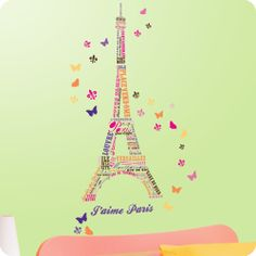 I just love all the wall decal designs I found that feature Paris! These designs work well in a global travel bedroom, Paris chic theme