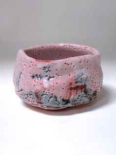 Shino Tea Bowl by Goro Suzuki. It's wabi-sabi and it's pink. More at Frank Lloyd Gallery.