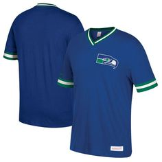 Seattle Seahawks Mitchell & Ness Overtime Win Vintage V-Neck T-Shirt - Royal