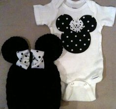 Minnie Mouse outfit for baby girls - black and white polka dot Minnie onesie and matching crochet Minnie Mouse hat w/ bow. $36.00, via Etsy.
